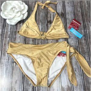 Hot Kiss, gold metallic bikini